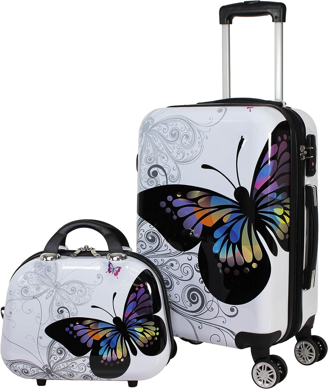 World Traveler 2-Piece Hardside Upright Spinner Luggage Set, Butterfly