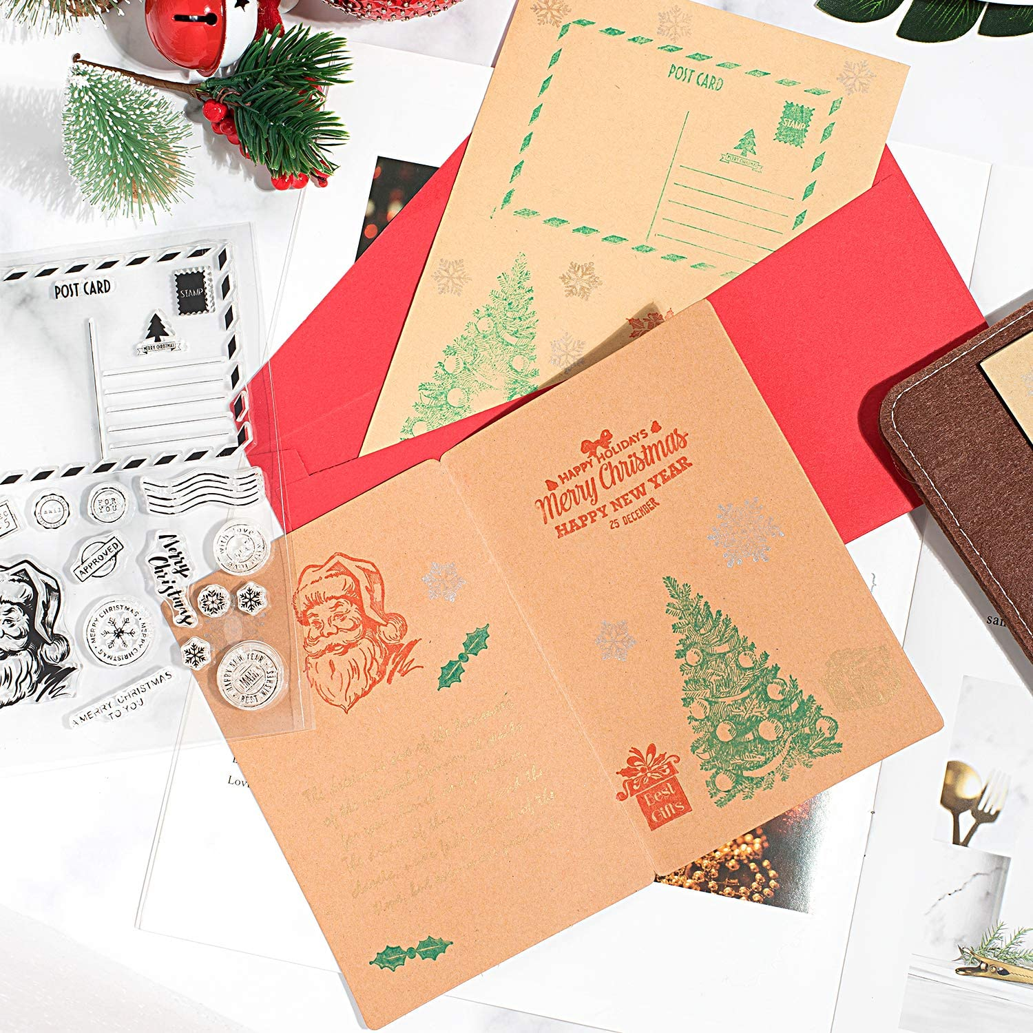 Whaline 6 Sheets Christmas Theme Silicone Clear Stamps Seal Blocks for Card Making Scrapbooking Decoration Words Journaling DIY Album
