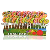 Toonpops - Assorted Fruit Flavour Candy Swirl Lollipop Birthday Pack 60 pcs, 1.5 inch Round with Display Box, 600 g
