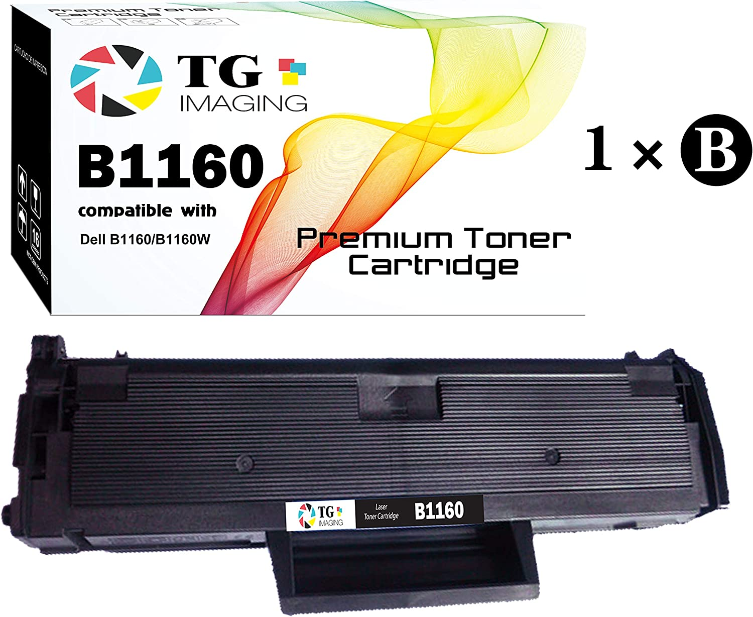 (1-Pack, Black) TG Imaging Compatible 331-7335 B1160 Toner Cartridge for Use in Laser Dell B1160, B1160w, B1163w, B1165nfw Printer