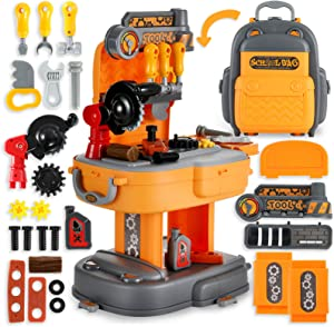 Toy Tool Bench, Backpack 2 in1 Set for Boys,Toddler Workbench Including Rotatable Simulated Chainsaw, Detachable Childrens Tool Box and Easy to Store, Kids Tool Set for Boys Age 2 3 Year Old 【31Pcs】