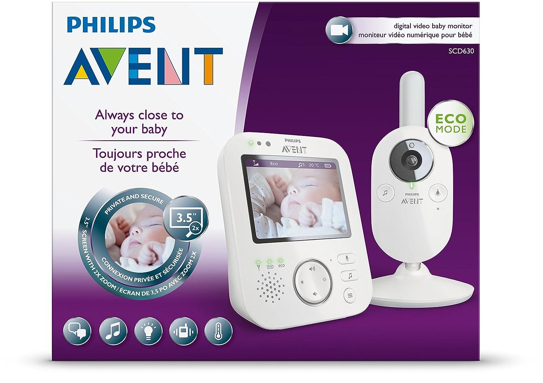 Philips Avent SCD630/01 - Vigilabebés con cámara, alcance de 300 m, pantalla LCD de 3,5 pulgadas con visión nocturna