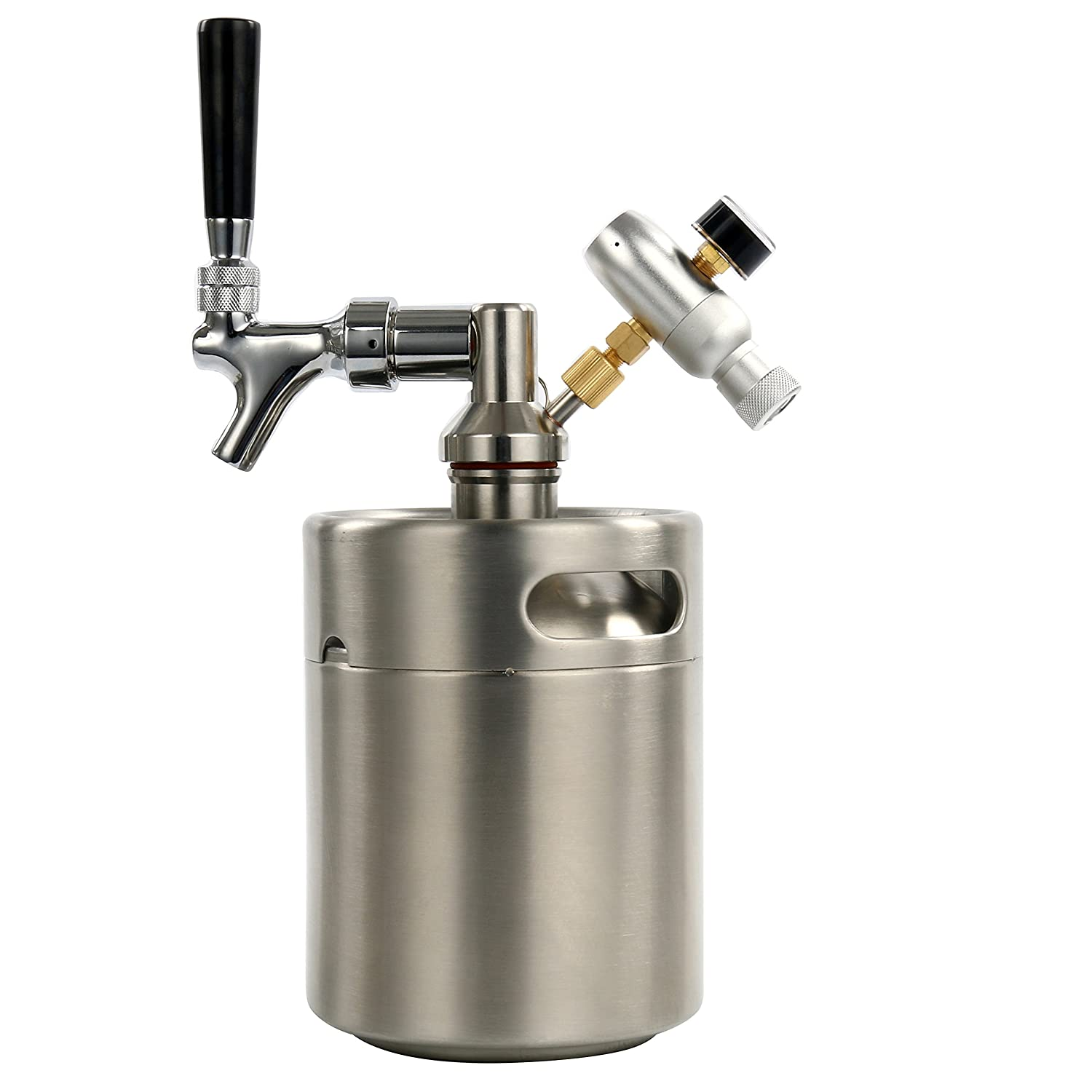 YaeBrew 64 Ounce Homebrew Keg System Kit for Home Brew Beer - with a Beer Dispensor, Mini CO2 Regulator and a 64 Ounce Stainless Steel Keg