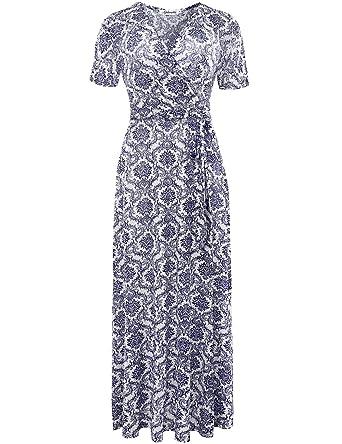 bdbd38b2f7 Aphratti Women's Bohemian Short Sleeve V Neck Long Beach Wrap Maxi Dress  Small Blue