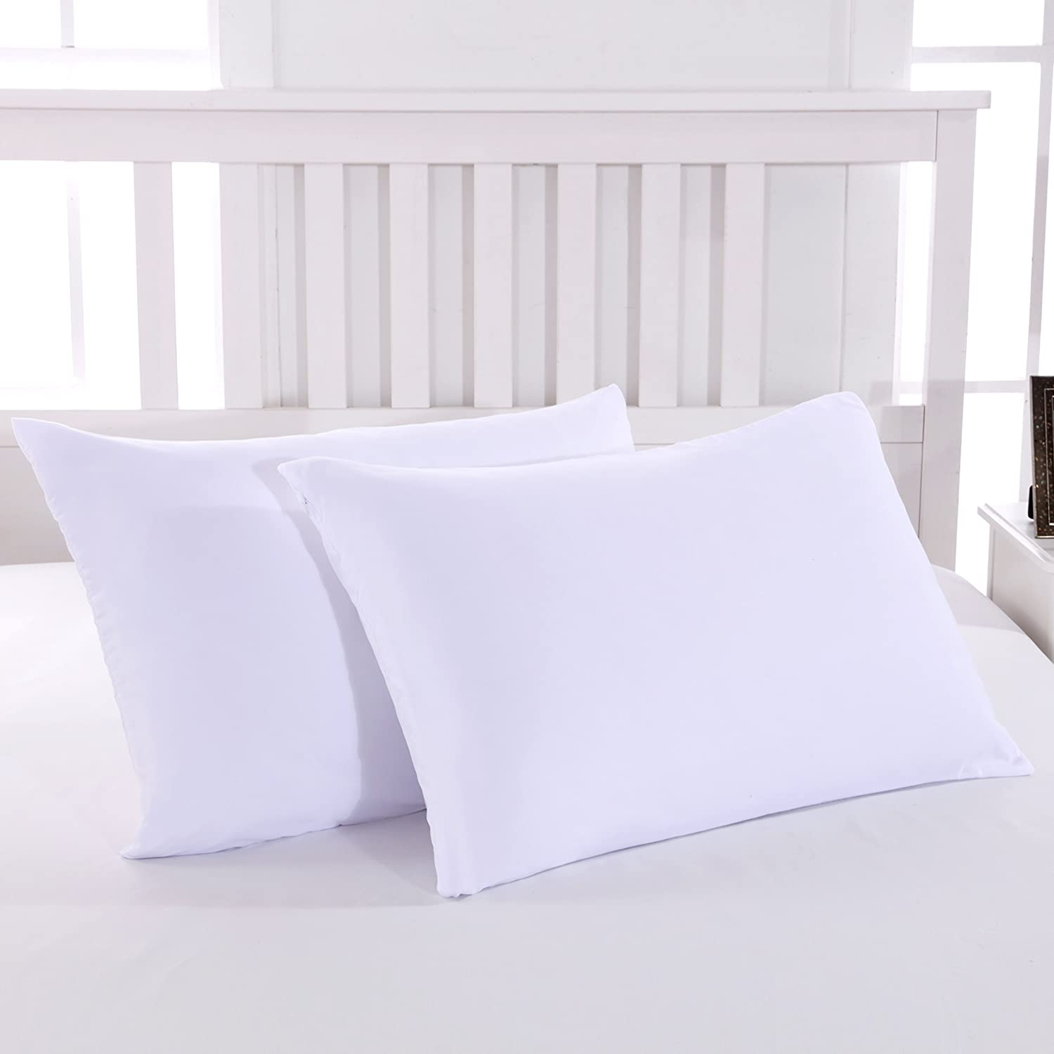 Mohap Standard Zippered Housewife Pillowcases 50X75CM Pack of 2 Non-Iron Brushed Microfiber Pillow Cover Pink