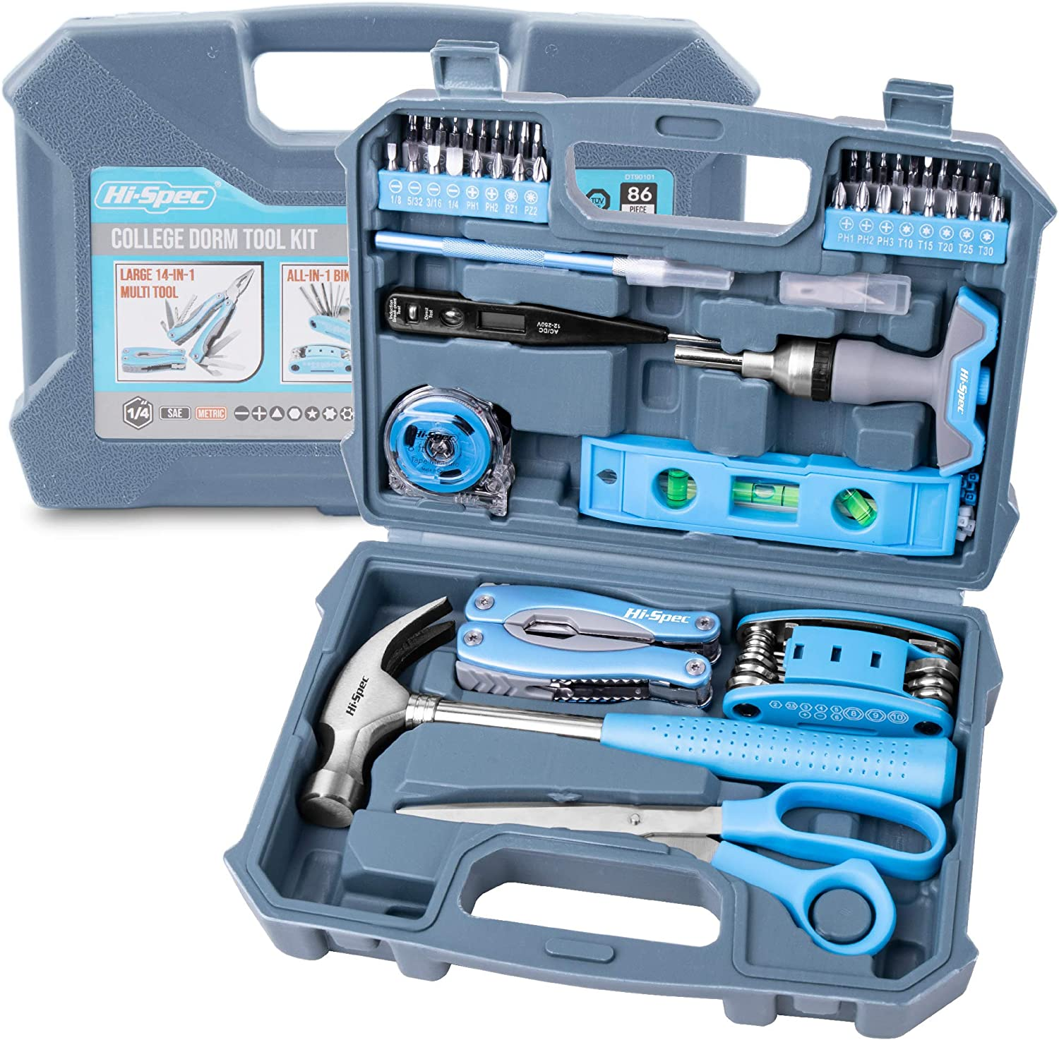 Hi-Spec 86 Piece College Dorm Household Tool Kit with 2-in-1 T Handle Ratcheting Bit Driver, Screw Bits, Bike Repair Multitool, Camping Multi Pliers for University, Homeowners, Starter Tool Set