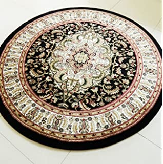 SMALL- XX LARGE BLACK MEDALLION TRADITIONAL CLASSIC THICK LUXURY SOFT WOOL-LOOK, PERSIAN
