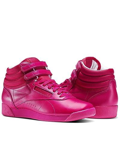 048a98bfaa Reebok Women's Classic Freestyle Hi Color Bomb Sneaker, Pink Craze, 7.5