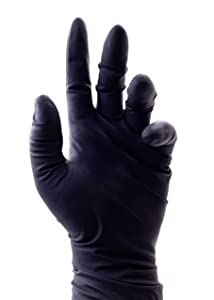 Colortrak Premium Grip Reusable Gloves, Powder Free Latex, Durable and Chemical Resistant, Textured for Better Grip, Extra Long Cuff, Washable, Black, Large, 4 Pairs (8 Gloves Total)