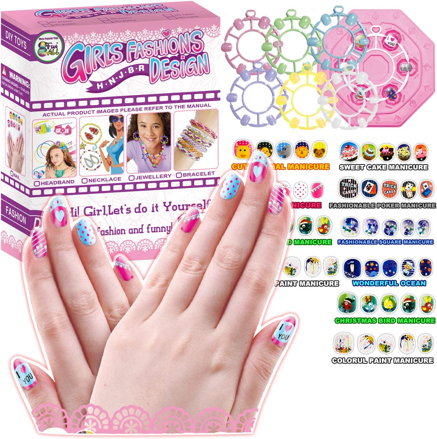 Girls Fashion DIY Design Nail Art Manicure Gift Colorful Fake Nails &  Themes Stickers Set Kit for Kids Makeup & Art Party Supplier