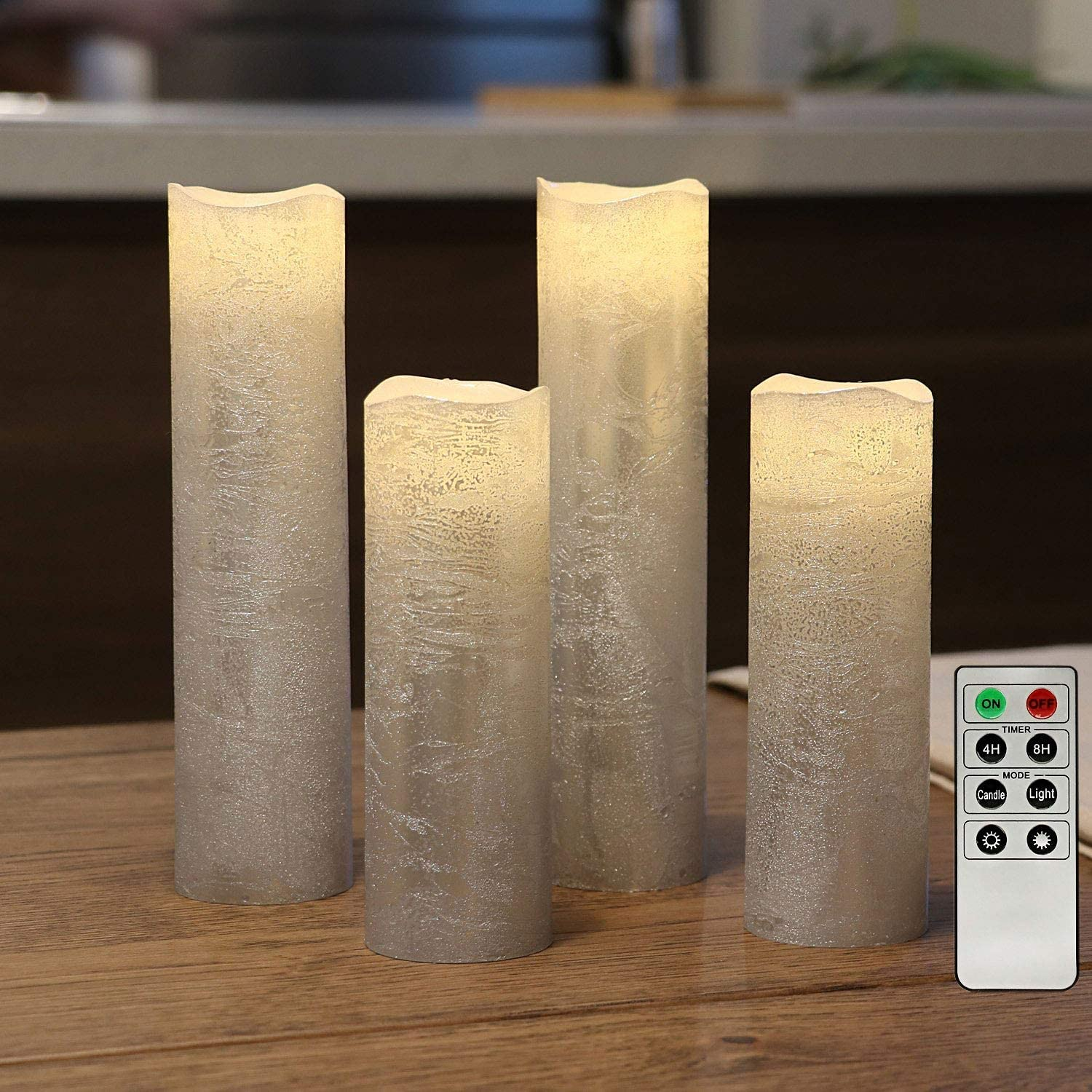 Slim Battery Operated Led Candles, Flameless Candles with Remote, Textured Wax Finish, Batteries Included - Dia.2 inches-Set of 4
