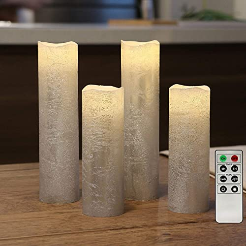Battery Operated Led Candles, Slim Flameless Candles with Remote, Textured Wax Finish, Batteries Included – Set of 4
