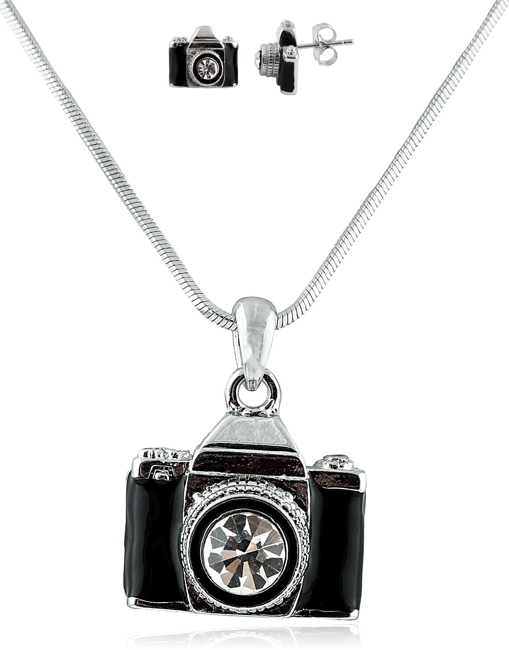 Combo of Silvertone with Black Camera Style Pendant Necklace and Matching Earring...