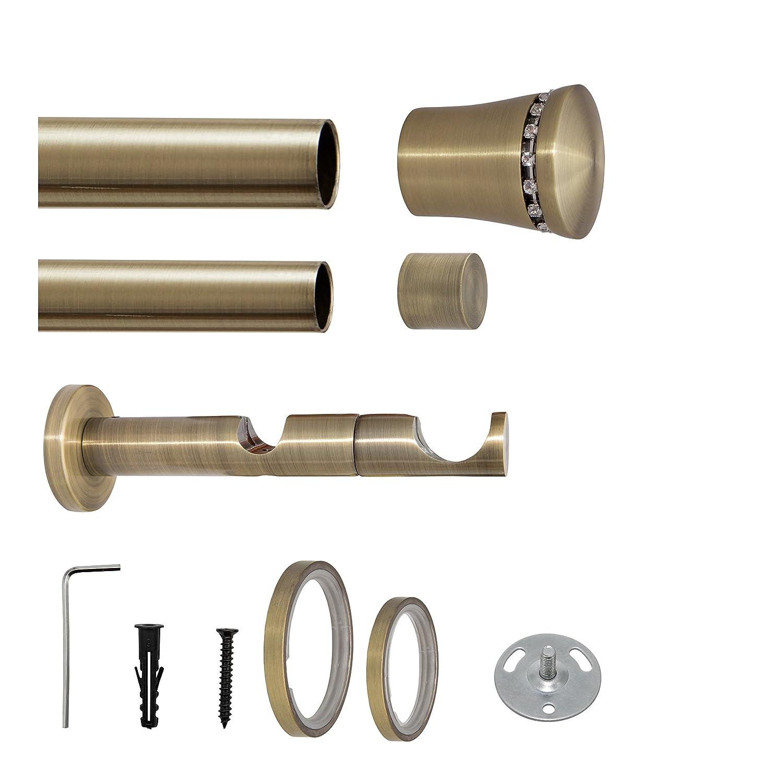 Gardinenstange auf Maß Ø 25mm Kristall Kristall Kristall 2-lauf Ringen Vorhangstange Stilgarnitur Bronze braun 180 cm be3717