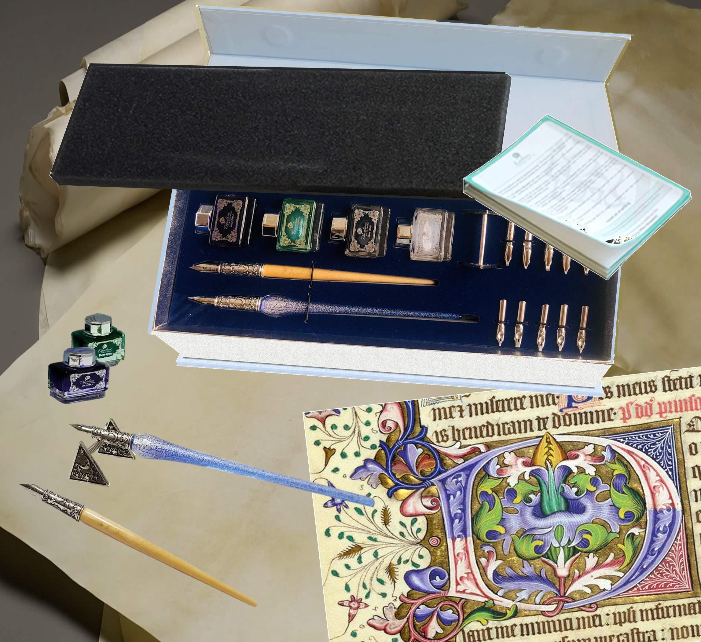 Daveliou Calligraphy Pen Set - 17-Piece Kit - Silver Leaf Blue Glass & Wooden Pens - 10 Nib & 4 Ink Set - Superior Control by Daveliou (Image #8)