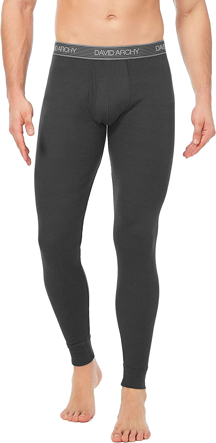 DAVID ARCHY Mens Double Layer Fleece Brushed Thermal Bottoms