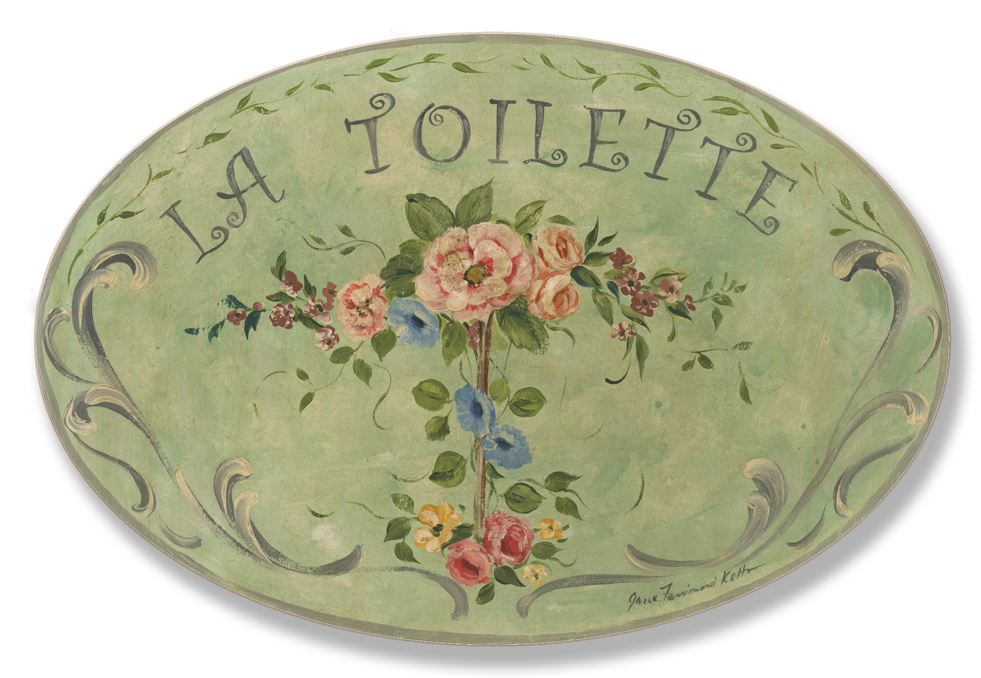 Stupell Home Décor La Toilette Green Floral Oval Bathroom Wall Plaque, 10 x 0.5 x 15, Proudly Made in USA