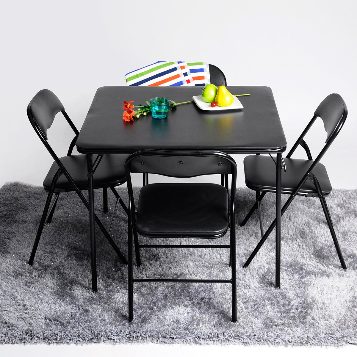 5pc Folding Table & Chairs Parties Portable Furniture Dining Set Card Poker Game