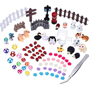 eBoot 89 Pieces Fairy Garden Accessories Miniature Ornaments Kit with 1 Piece Tweezer Tool for DIY Fairy Garden Decoration