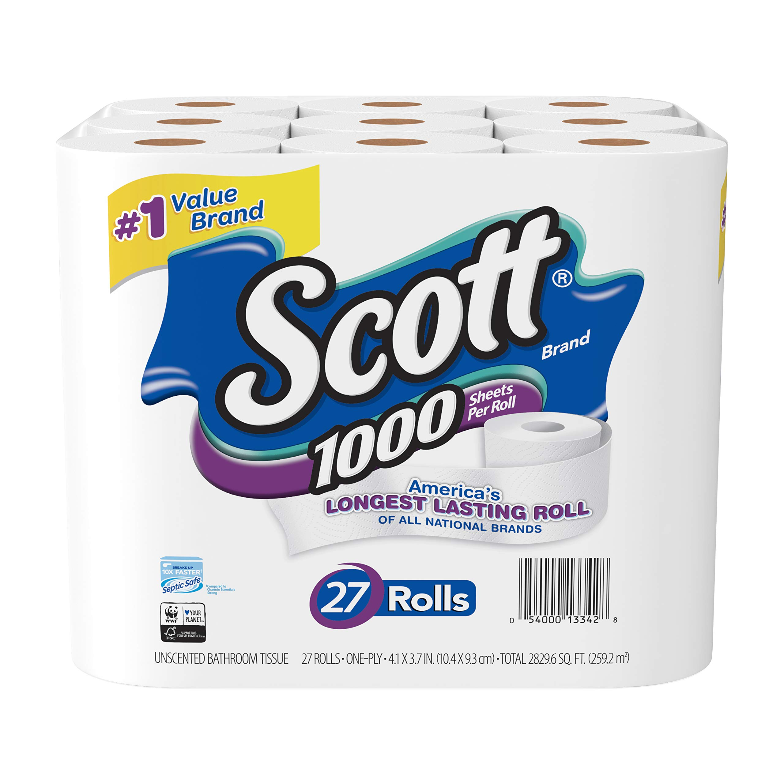 Scott 1000 Sheetsper Roll Toilet Paper, 27 Rolls, Bath Tissue by Scott