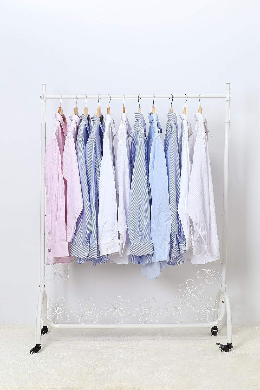 NEUN WELTEN Perchero de metal con dise/ño floral y ruedas Porta ropa regulable en altura hasta 180 cm blanco