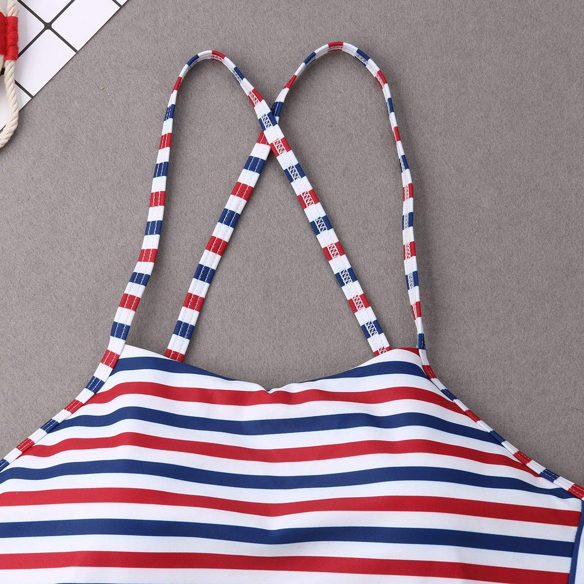 Family Matching Mom and Daughter High Waist Stripe Two-Pieces Swimwear Thin Shoulder Strip Swimsuit Set
