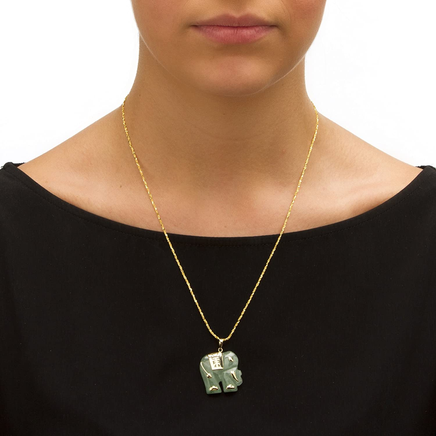 Green Jade Sculptured Elephant pendant with 14K yellow gold accents and amethyst eye    VJSE