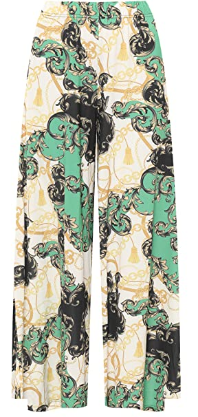21127e2d2a9 WearAll Women s Plus Baroque Scarf Chain Print Wide Leg Flared Palazzo  Trousers Pants at Amazon Women s Clothing store