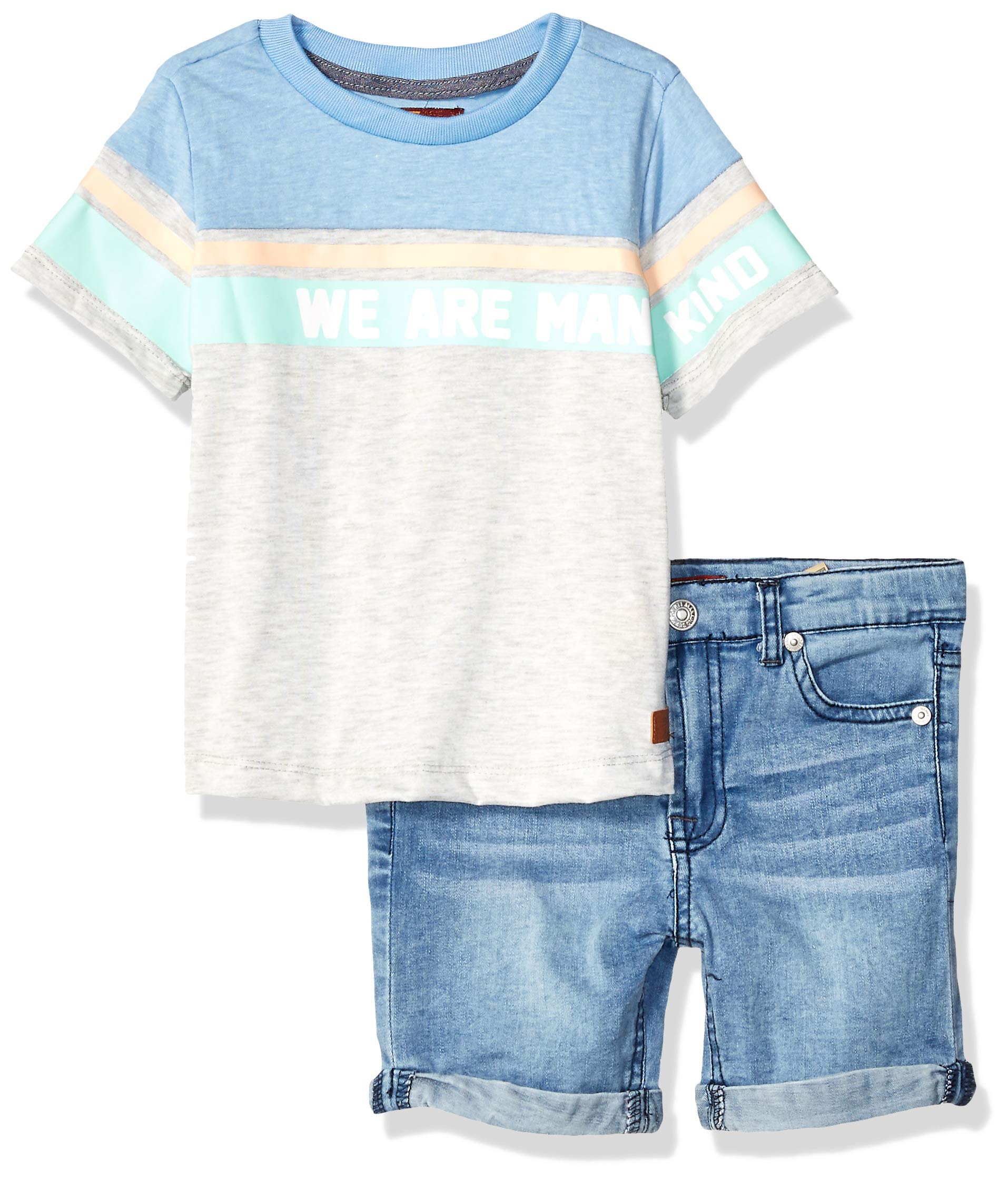 7 For All Mankind Kids Boys' Toddler Classic Printed T-Shirt and Denim Short Set, Heather Grey/Light Wash, 2T