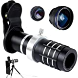 Telephoto Lens for Smartphone - Mobile Camera Kit with 12X Telephoto, Wide Angle and Macro Lenses 3 in 1 - Universal Clip Attachment for Iphone 6, 6s, 7, 8 Plus and Samsung Android Cell phone R&L