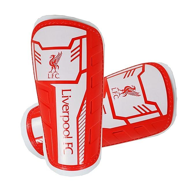 Liverpool FC - Espinilleras infantiles para fútbol (8-10 Años/Rojo/Blanco