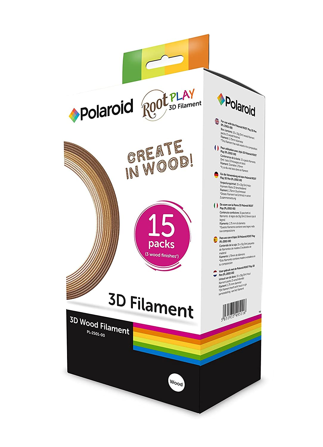 Polaroid 3D PLA Root Play Wood Filament Pack - Three wood colors 15 x 5m - 1.75mm diameter 3D-FP-PL-2501-00