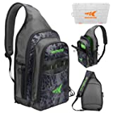 KastKing Pond Hopper Fishing Sling Tackle Storage Bag - Lightweight Sling Fishing Backpack - Sling Tool Bag for Fishing Hiking Hunting Camping,Include (1) 3600 Box,17.7x12.6x6 Inches, Blackout