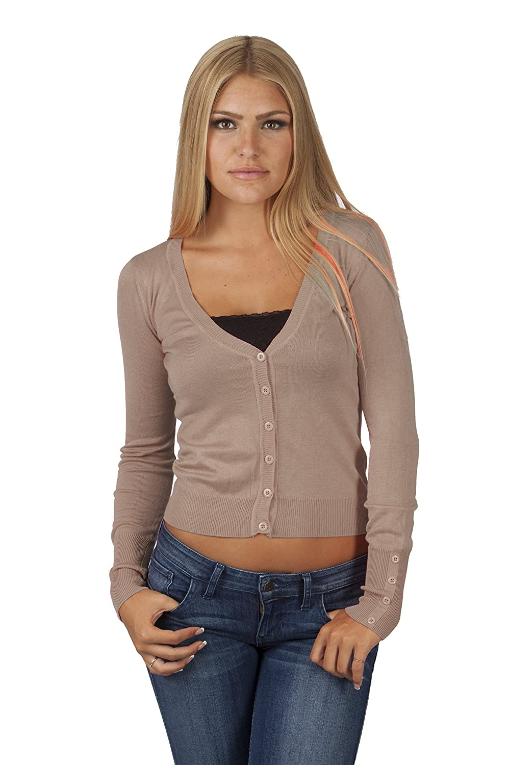 Hollywood Star Fashion Women's V-Neck Full-Sleeve Button Cardigan