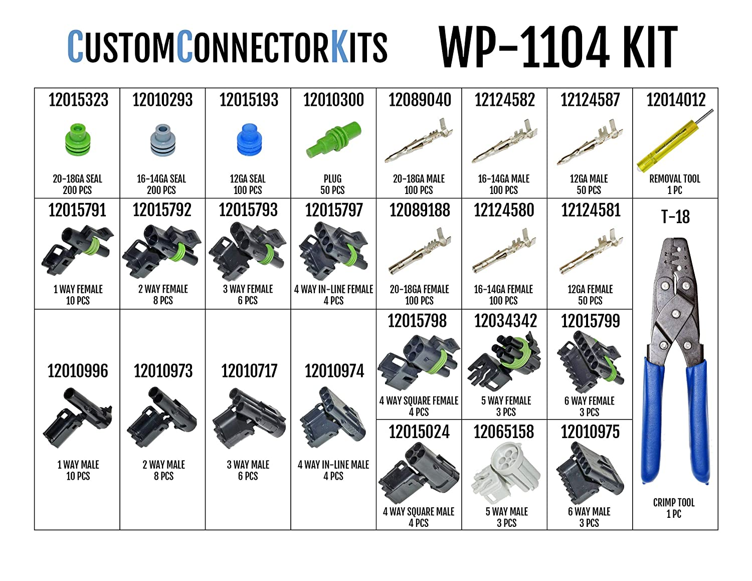 Delphi Weather Pack Connector Kit Wp 1104 With T 18 Ford Wiring Harness Kits Male Plugs Sealed Weatherproof Automotive Electrical Connectors 20 12 Gauge Piece Crimp