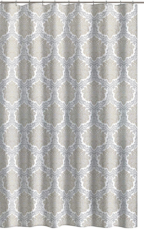 Amazoncom Marbella Gray Taupe Beige White Fabric Shower Curtain