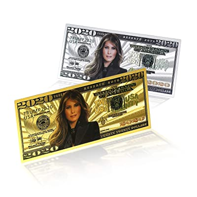 2020 Dollar Bill Melania Trump Banknote, Gold Coated First Lady Melania Limited Edition Million Dollar Bill Great Gift for Currency Collectors and Republican (Mix(5+5), 10): Toys & Games