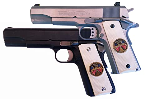Garrison Grip 1911 Colt Full Size and Clones with Proud to BE an American  Medallion Set in Ivory Polymer Grips