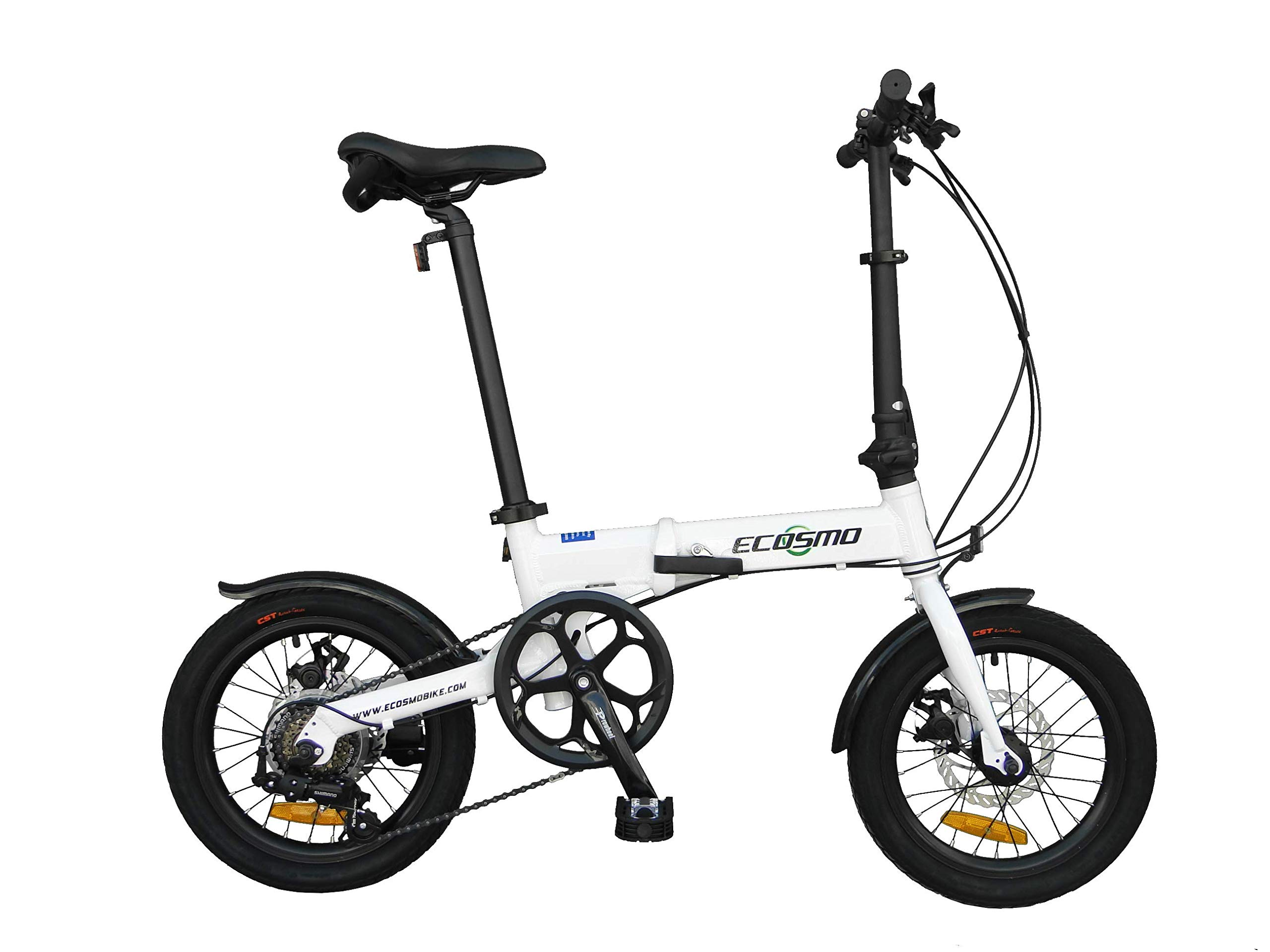 """ECOSMO 16"""" Lightweight Alloy Folding City Bike Bicycle,6 SP,Dual Disc brakes - 16AF02W"""