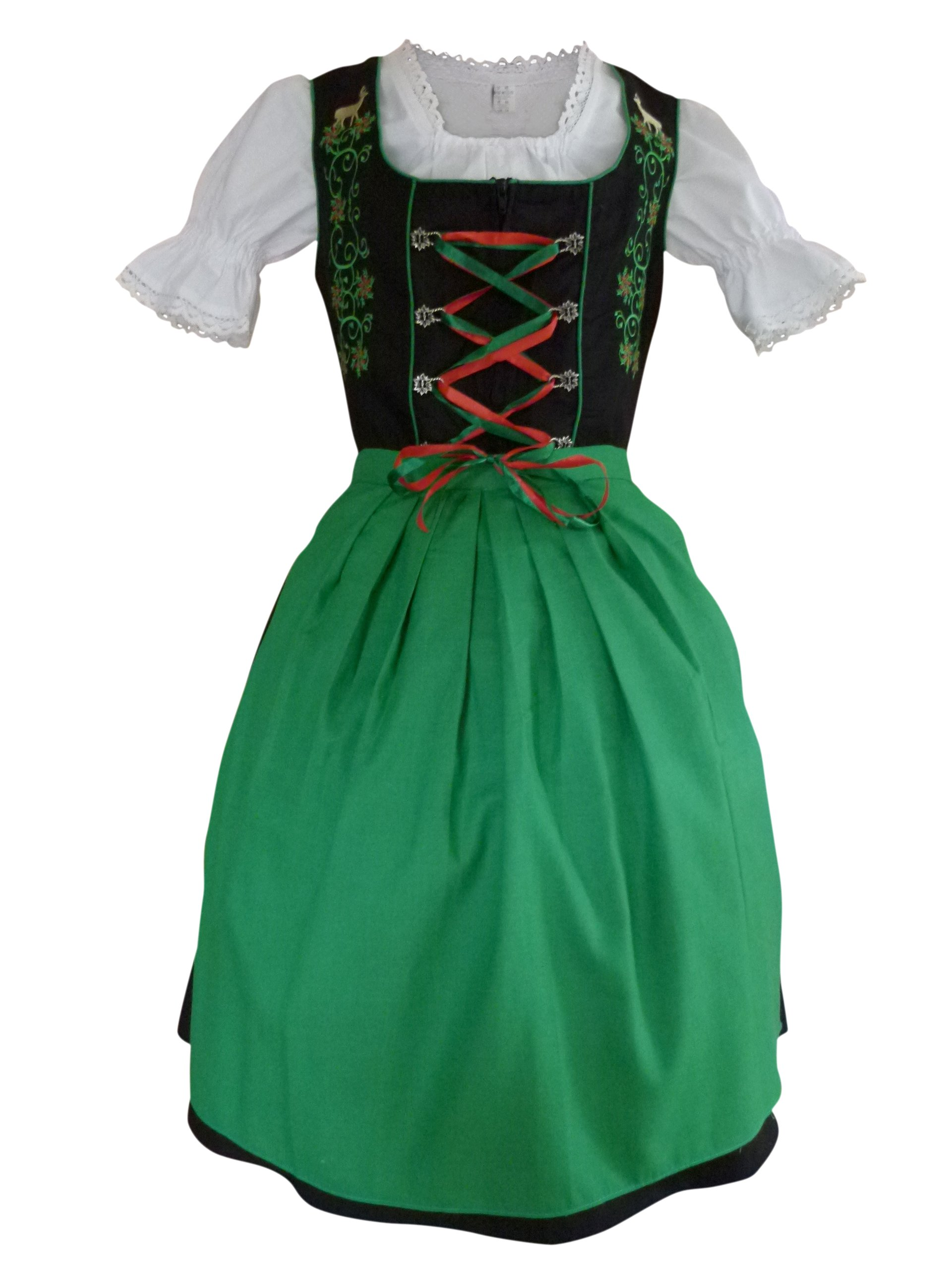 Dirndl World Womens Di24, German Bavarian 3 Piece Mini Dirndl Dress for Oktoberfest, Blouse, Apron, Size 8
