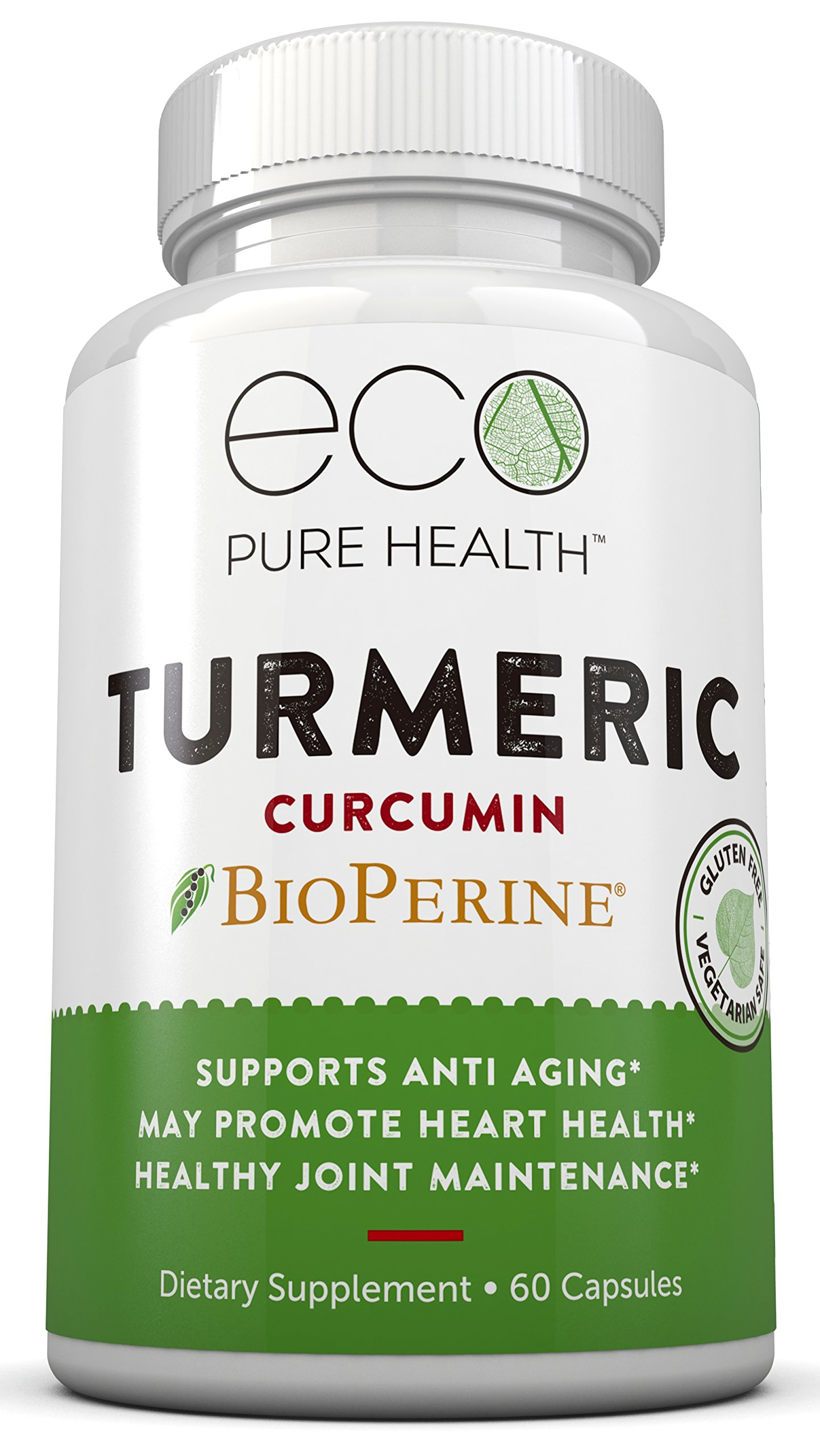 Turmeric Curcumin with Bioperine (Black Pepper Extract) with 95% Standardized Curcuminoids, Premium Supplement For Pain Relief & Joint Support By Eco Pure Health