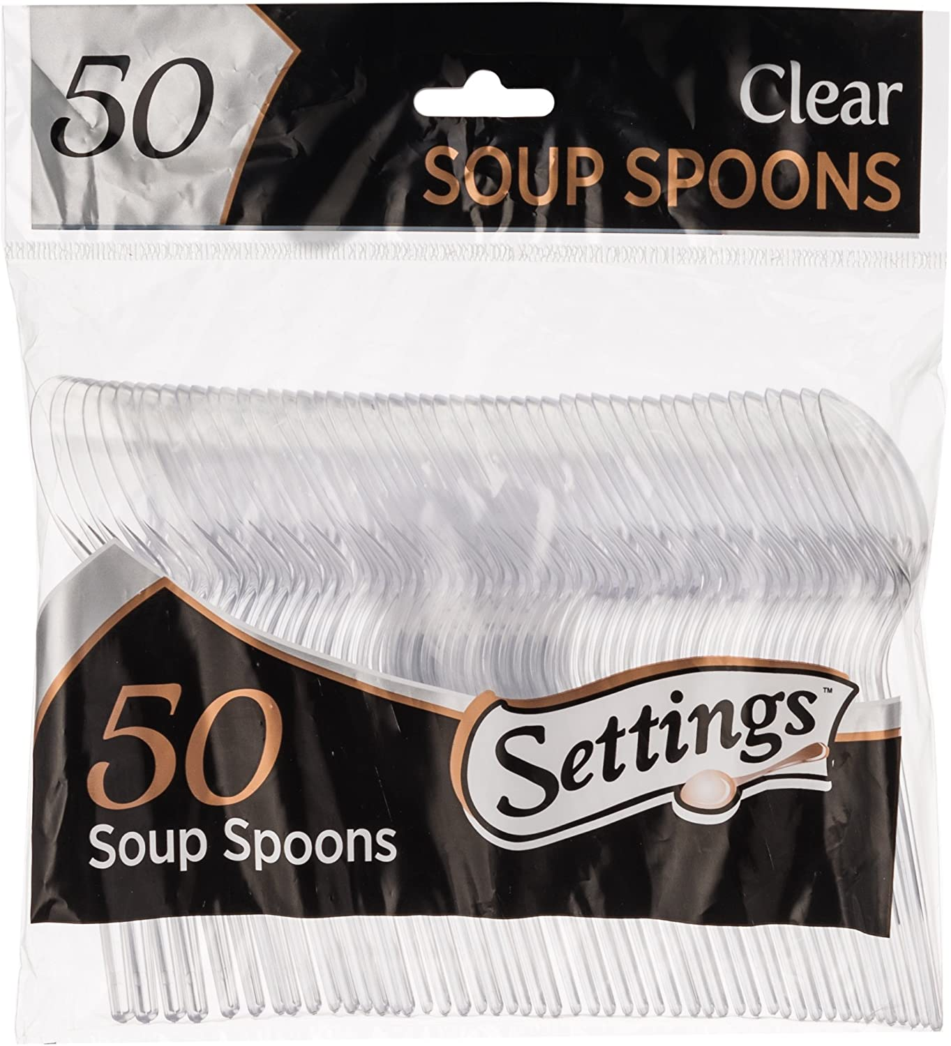 [50 Count] Settings Plastic Clear Soup Spoons, Heavyweight Disposable Cutlery, Great For Home, Office, School, Party, Picnics, Restaurant, Take-out Fast Food, Outdoor Events, Or Every Day Use, 1 Bag