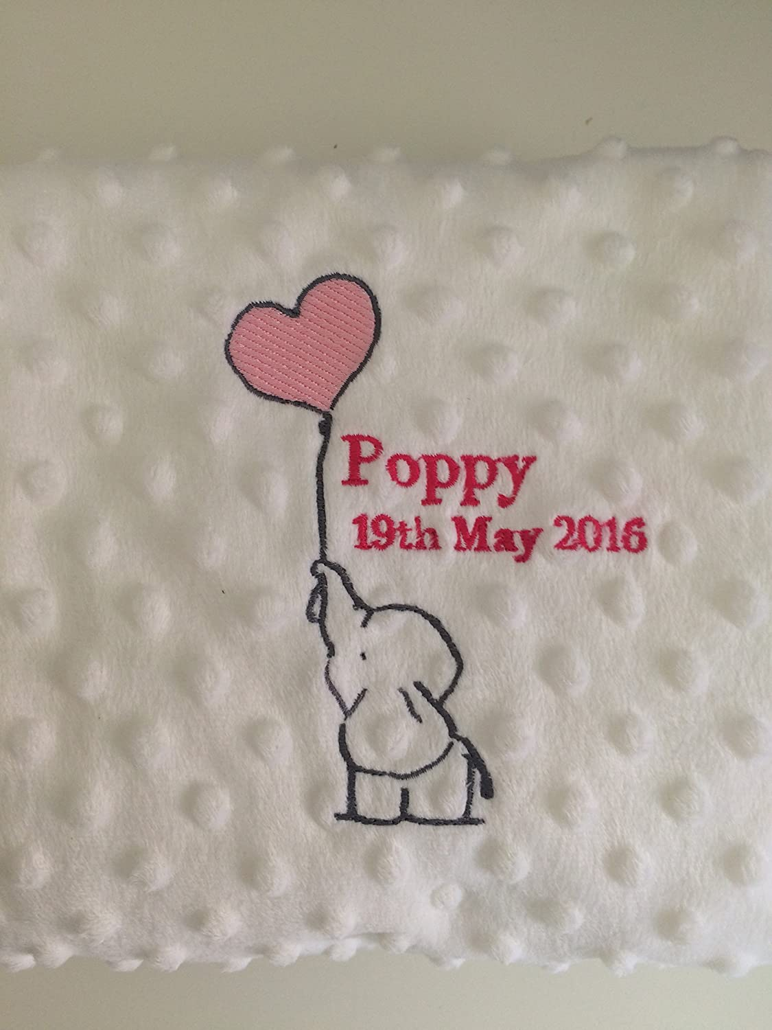 Elephant Design Personalised Embroidered microplush dimpled Baby Bubble Blanket Pink