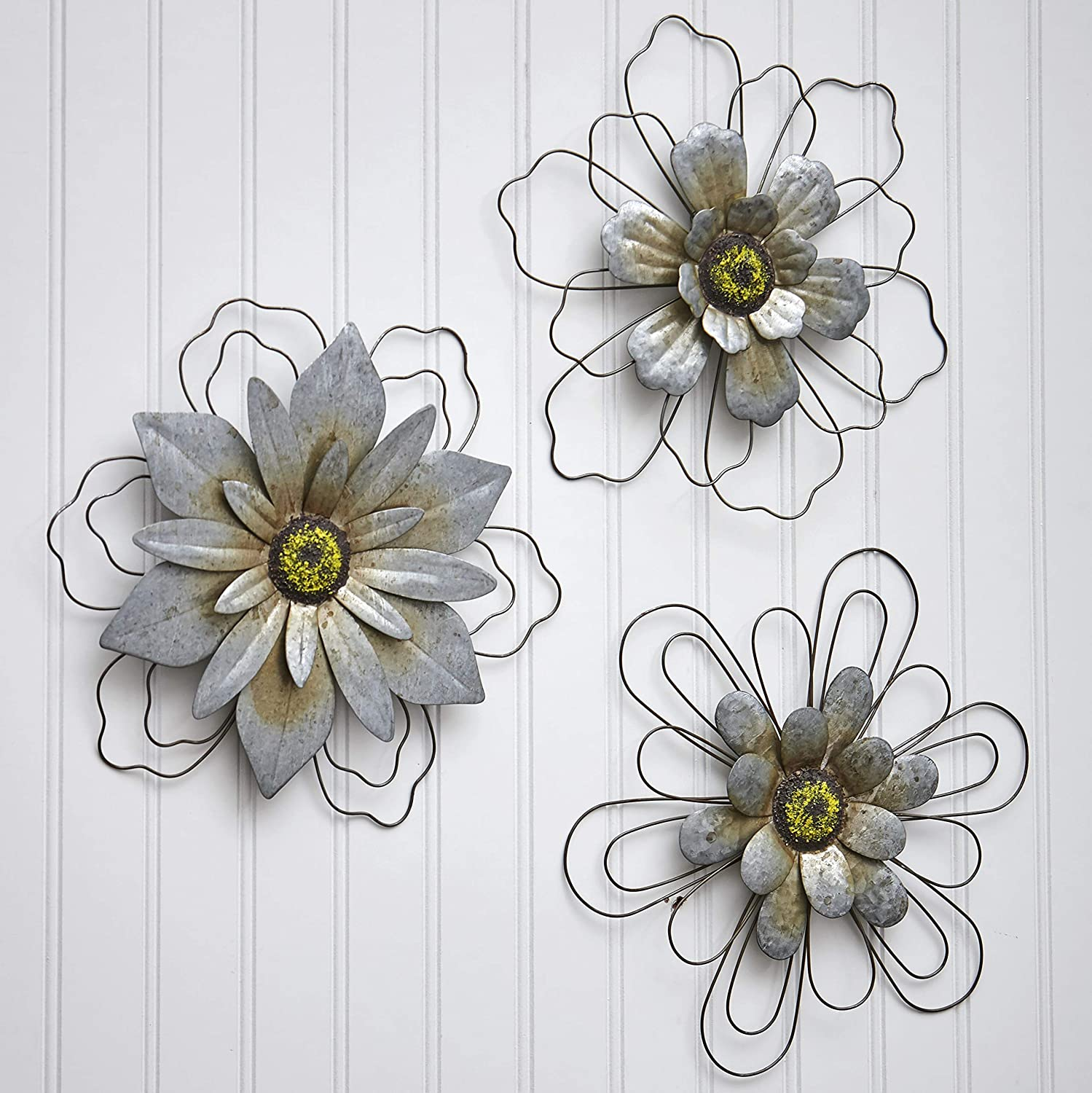 The Lakeside Collection Rustic Galvanized Metal Hanging Wall Flowers - Set of 3 - Wire Outline