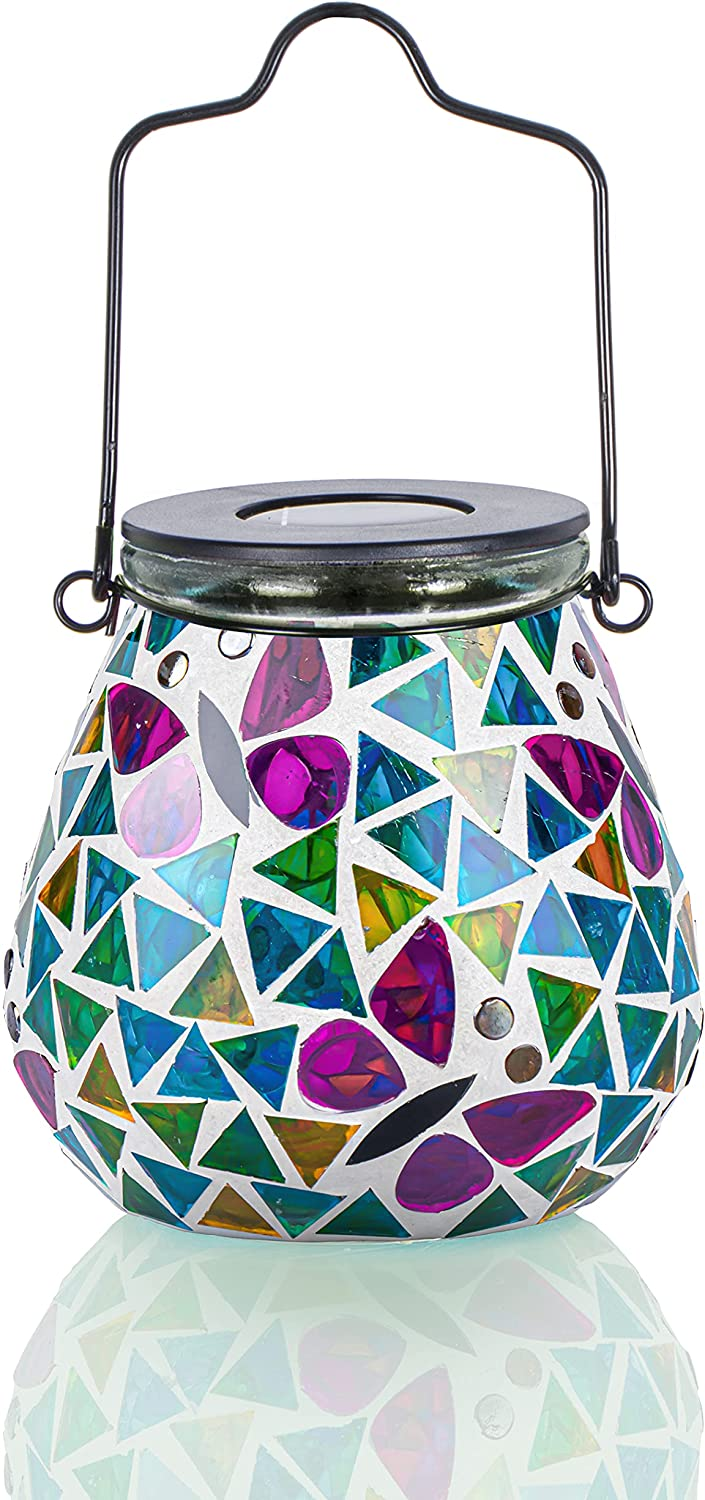 Afirst Mosaic Solar Lanterns - Glass Hanging Lights Butterfly Hollow Out Waterproof Outdoor Decorative for Garden, Patio, Holiday Party Outdoor Decoration, 1 Pack