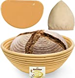 9 Inch Bread Banneton Proofing Basket - Baking Bowl Dough Gifts for Bakers Proving Baskets for Sourdough Lame Bread…