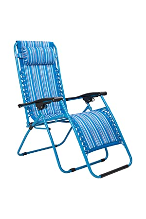 Mountain warehouse chaise de jardin inclinable accoudoirs chaise de camping coussin de tête rembourré