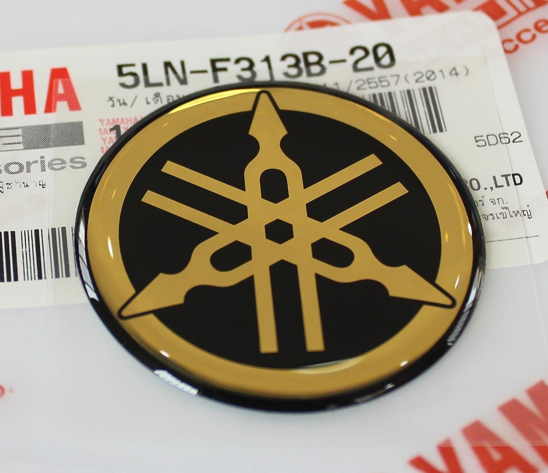 Yamaha 5LN-F313B-20 - Genuine 40MM Diameter Yamaha Tuning Fork Decal Sticker Emblem Logo Black / Gold Raised Domed Gel Resin Self Adhesive Motorcycle / Jet Ski / ATV / Snowmobile