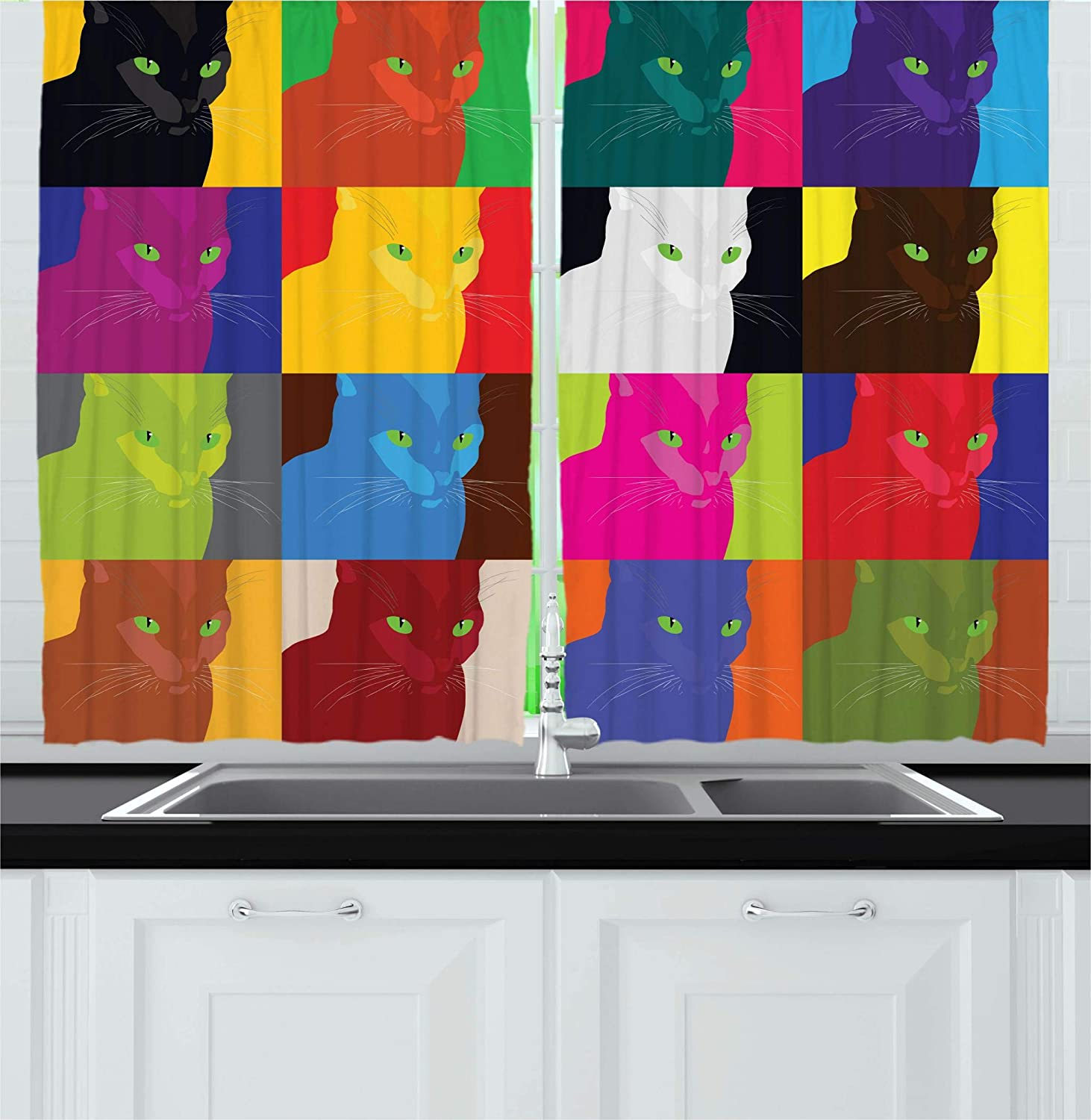 Ambesonne Cat Decor Kitchen Curtains by, Pop Art Style Featured Fractal Kitty Portraits Frame with Color Effects Artsy Print, Window Drapes 2 Panels Set for Kitchen Cafe, 55W X 39L Inches, Multi