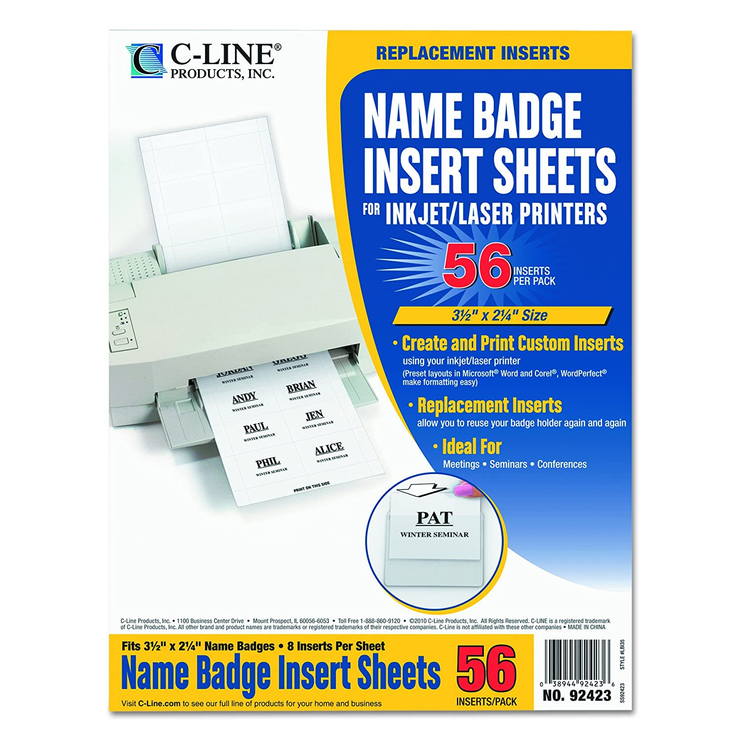 C-Line Laser and Ink Jet Name Badge Inserts, 3.5 x 2 Inches, White, 56 per Pack (92423) C-Line Products Inc.